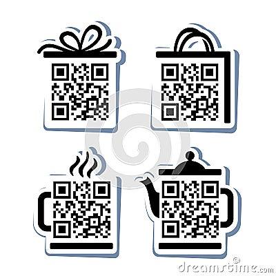 QR-Code. 4 icons set