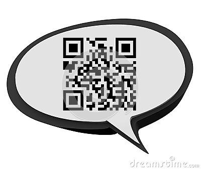 QR Code Speech Bubble Product Information Scan