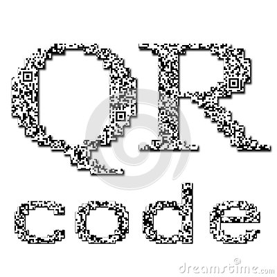 QR code textured text Editorial Stock Photo
