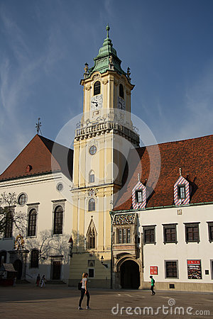 Quadrado principal em Bratislava (Eslováquia) Imagem Editorial