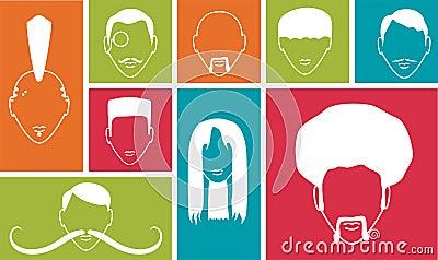 Quadrados coloridos com ícones dos povos