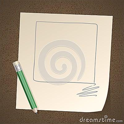 Quadrato del blocco per grafici del disegno a matita su documento
