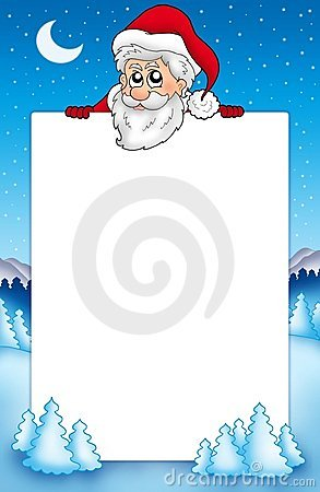 Quadro com Papai Noel de espreitamento 1
