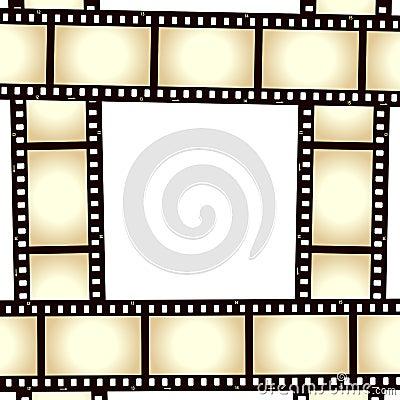 Quadro retro da foto da tira do filme