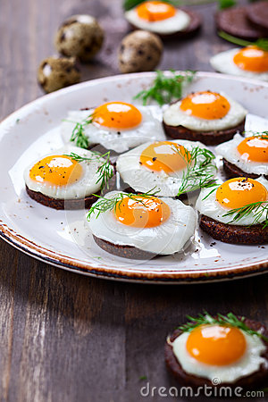 Free Quail Egg Canapes Stock Photo - 49644490