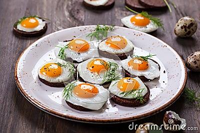 Quail egg canapes stock photo image 49644495 for Quail egg canape