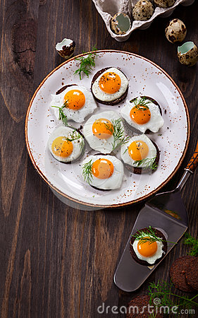Quail egg canapes stock photo image 49644511 for Quail egg canape