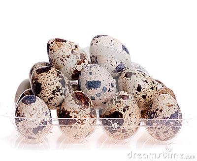Quail eggs on each other on the white