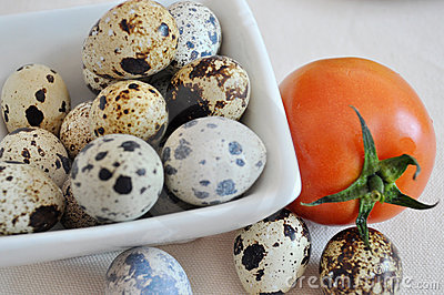 quail eggs and tomato