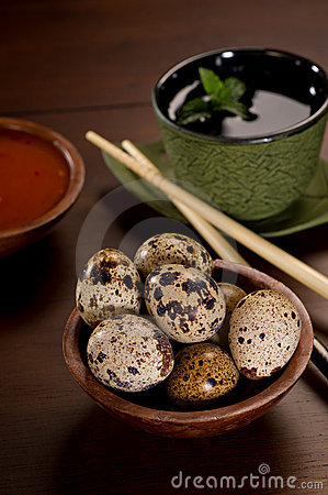 Free Quail Eggs With Tea Royalty Free Stock Image - 22302576