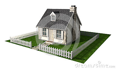 Quaint Cottage House With Garden And Picket Fence
