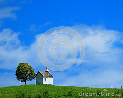 Quaint little chapel on lush hilltop
