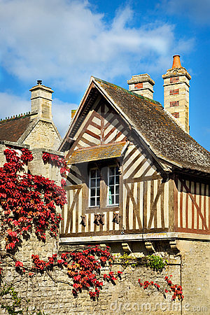 Quaint Old Half-Timbered House in Normandy, France