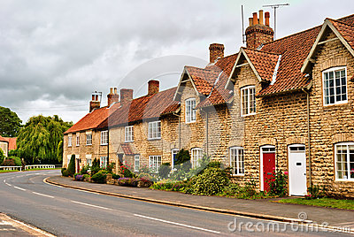 Quaint row of English village houses