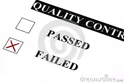 Quality control failed