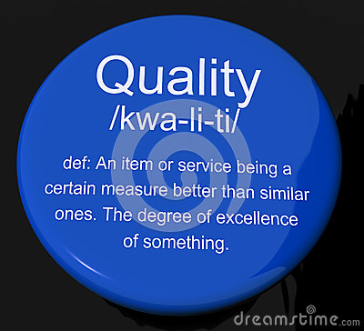Quality Definition Button Showing Excellent