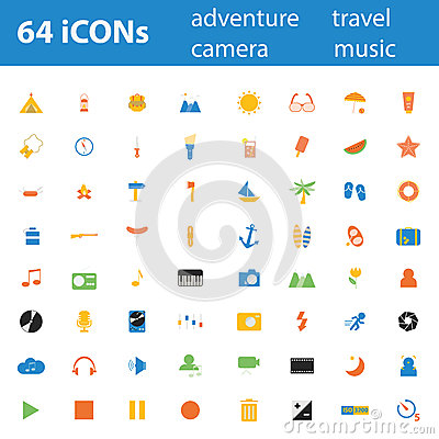 64 Quality design modern  illustration icons set.