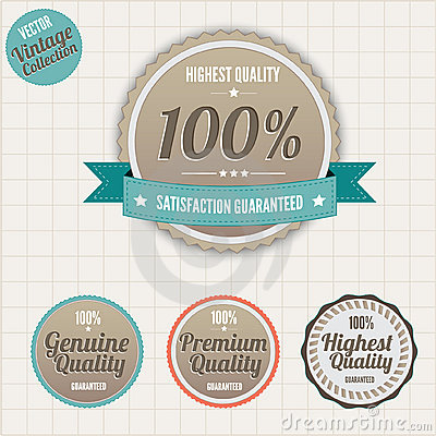 Quality and satisfaction guarantee badges Vector Illustration
