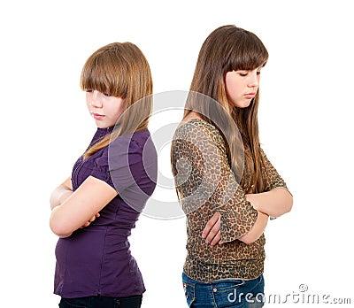 Quarrel girls isolated