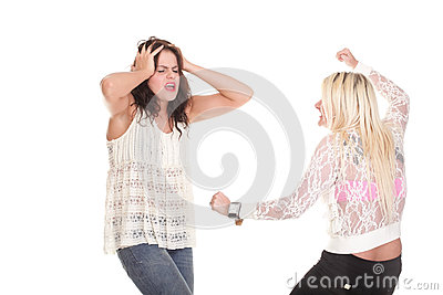 Quarrel, screaming between two young women