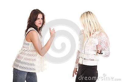 Quarrel, screaming between two young women blonde and brunette