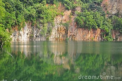 A quarry with reflection on the water
