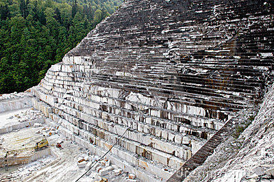 Quarry of white marble, Romania