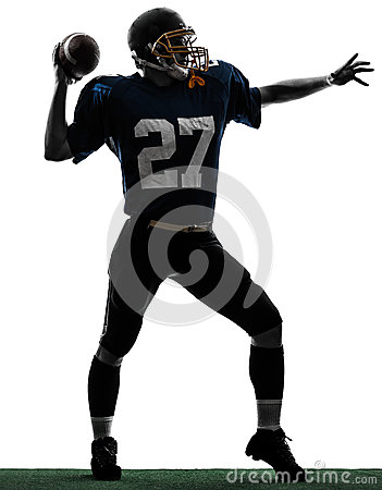 Quarterback american throwing football player man silhouette