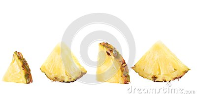 Quarters of slices pineapple.