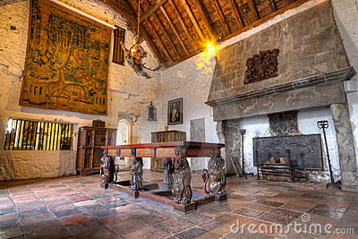 Quarto de Dinning do castelo de Bunratty do século XV Imagem Editorial