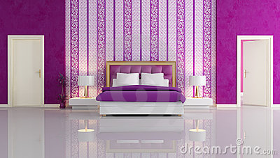 Purple White Bedroom On Home Royalty Free Stock Photography Luxury