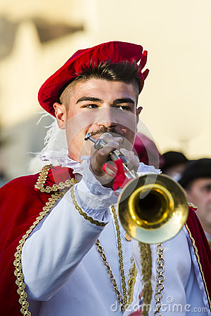 Free QUARTU S.E., ITALY - July 15, 2016: 30 ^ Sciampitta - International Folklore Festival - Drummers And Trumpeters Of Oristano - Sard Royalty Free Stock Images - 78540069