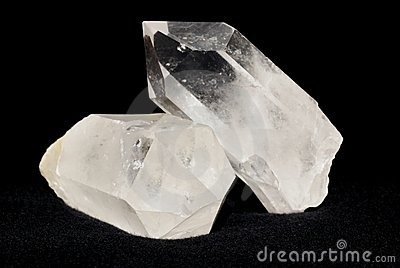 Quartz crystals on black
