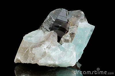 Quartz mineral isolated on balck