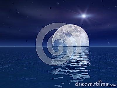 Quasar Star Over Night Moon Over Sea