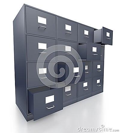 Quatre meubles d 39 archivage gris de bureau avec les tiroirs for Meuble bureau avec tiroirs