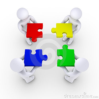 Quattro parti di puzzle della holding della gente