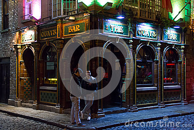 The Quay Bar at night. Irish pub. Dublin Editorial Image