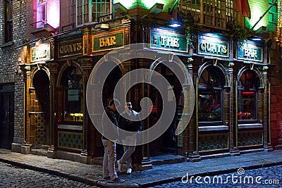 The Quay Bar at night. Irish pub. Dublin Editorial Image