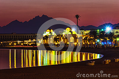 Quay  resort of Hurghada at night