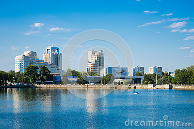 Quay wharf embankment Yekaterinburg City.
