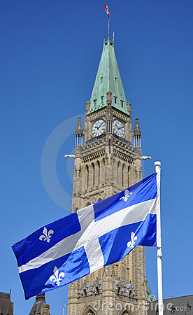 Quebec Flag flying in front of Peace Tower, Ottawa