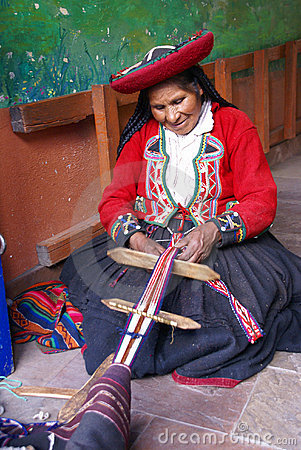 Quechua Indian woman weaving Editorial Stock Image