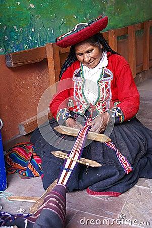 Quechua Indian woman weaving Editorial Stock Image