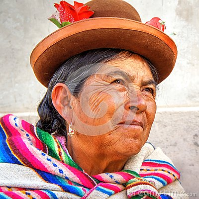 Free Quechua Native Old Woman From Peru Portrait Stock Photos - 106403243
