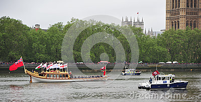 Queen Elizabeth Diamond Jubilee River Pageant Editorial Photo