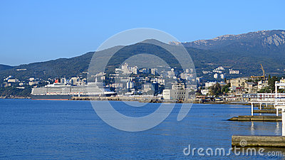 Queen Elizabeth ocean liner in Yalta, Ukraine Editorial Photo