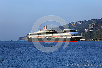Queen Elizabeth ocean liner in Yalta, Ukraine Editorial Stock Photo