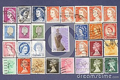 Queen Elizabeth.Postage stamps.