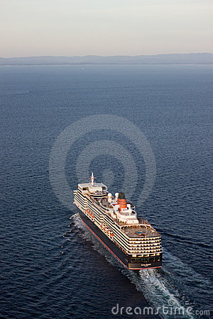 Queen Elizabeth sailing Aerial View Vertical Editorial Stock Image